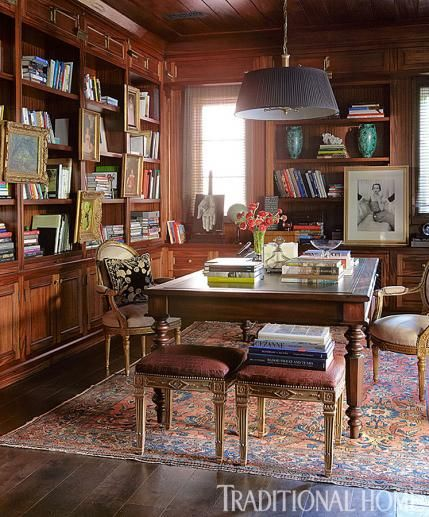 Mahogany Cabinets And Bookshelves In This Library Add A