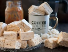 A rich caramel swirl rippled perfectly through pillowy coffee flavored marshmallows. These caramel latte marshmallows are coffee-lover gourmet marshmallow perfection, and perfect to make at home. * Recipe on GoodieGodmother.com #flavoredmarshmallows