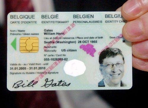 La Fausse Carte D Identite Belge De Bill Gates Fondateur De