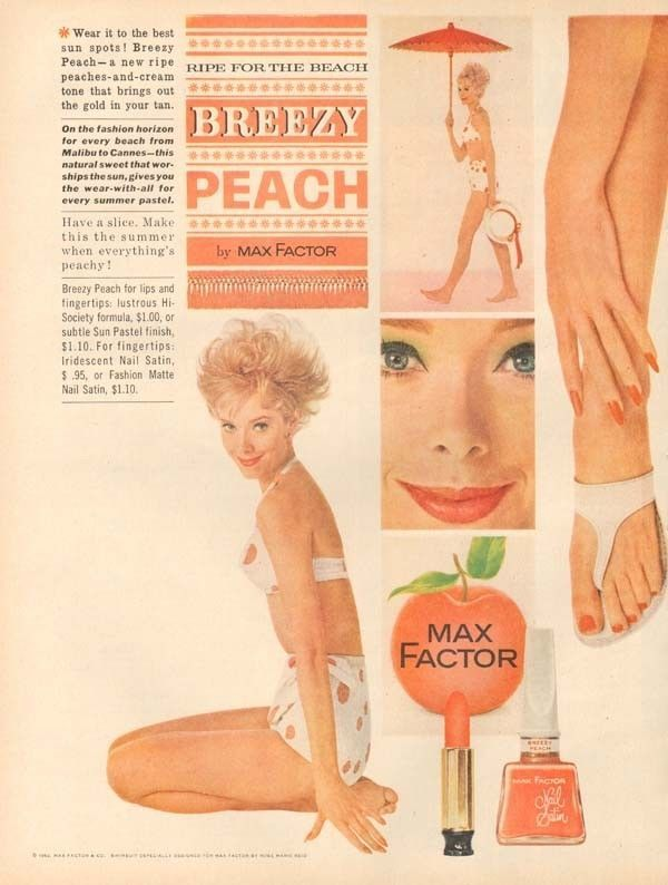 1960s vintage MAX FACTOR Breezy Peachy LIPSTICK Bikini Model BEAUTY Makeup AD