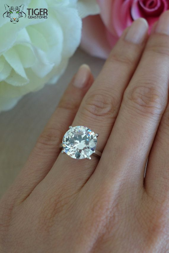 7 Carat Solitaire 4 Prong Celebrity Style Engagement Ring Round 12mm Diamond S Big Diamond Engagement Rings Big Engagement Rings Handmade Engagement Rings