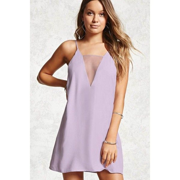Forever 21 Contemporary - A woven mini dress featuring a sheer mesh  illusion V-neckline design, adjustable cami straps, and a shift silhouette.