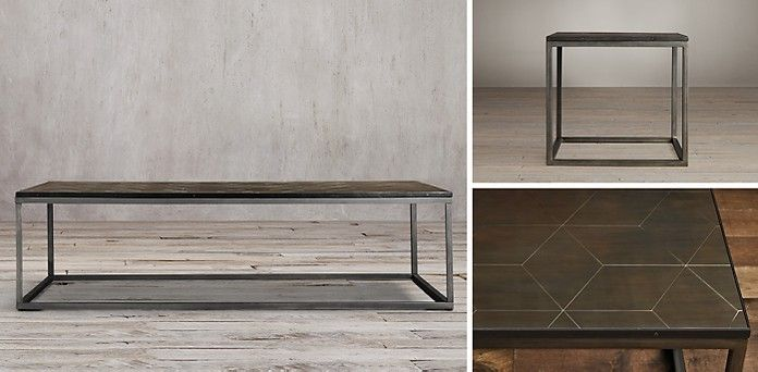 Metal Parquet Coffee Table Rh Replace Top With Creamy Stone