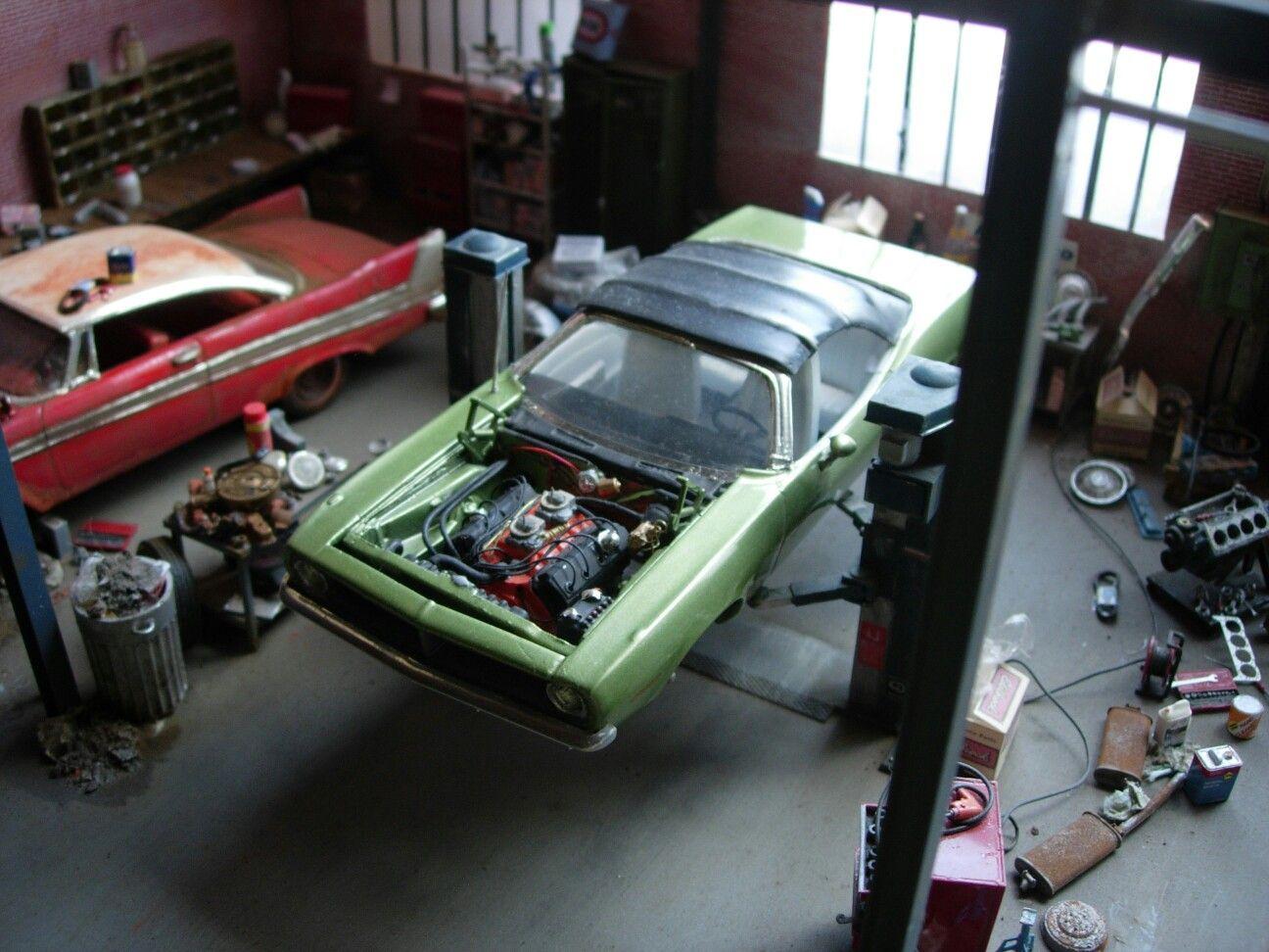 Garage diorama 1 25 model kit by marc antoine car for Alaska garage kits