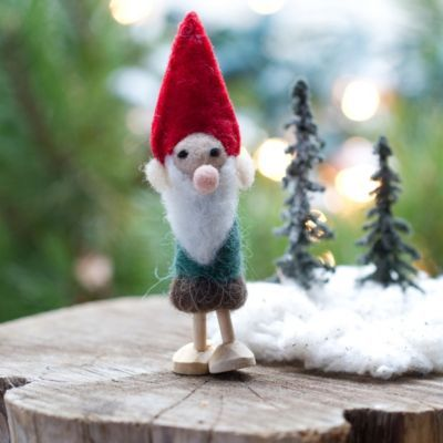 Wooly Gnome Ornament In Holiday Trim The Tree Ornaments Woodland At Terrain Gnome Ornaments Holiday Tree Skirts