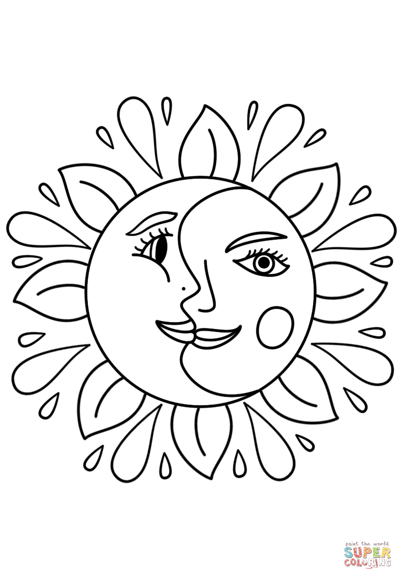 Trippy Sun and Moon coloring page Free Printable