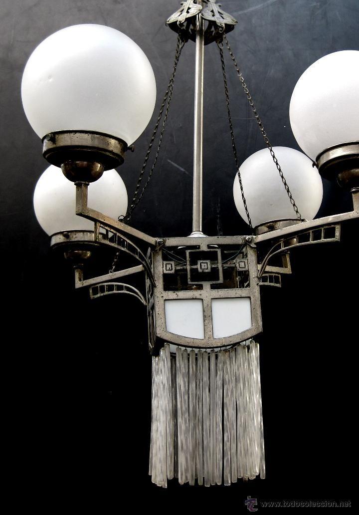 GRAN LAMPARA ANTIGUA MODERNISTA ART NOVEAU - ART DECO CIRCA 1900 LATON PLATEADO Y TULIPAS CRISTAL