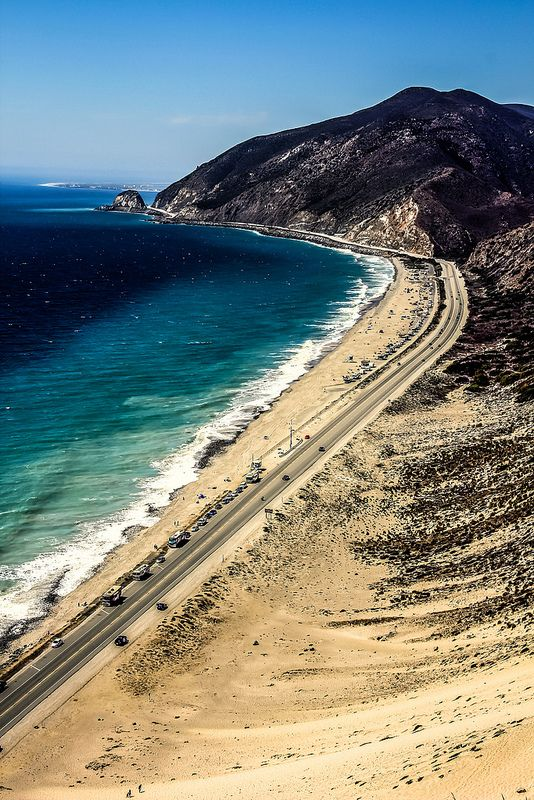 The Road To Deep Blue Sea Pacific Coast Highway Near Malibu California