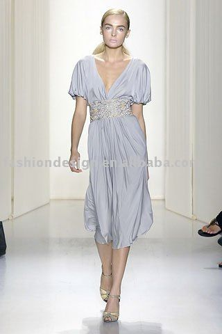 ES126  2011  fashion chiffon tea length beaded evening dress US $157.89