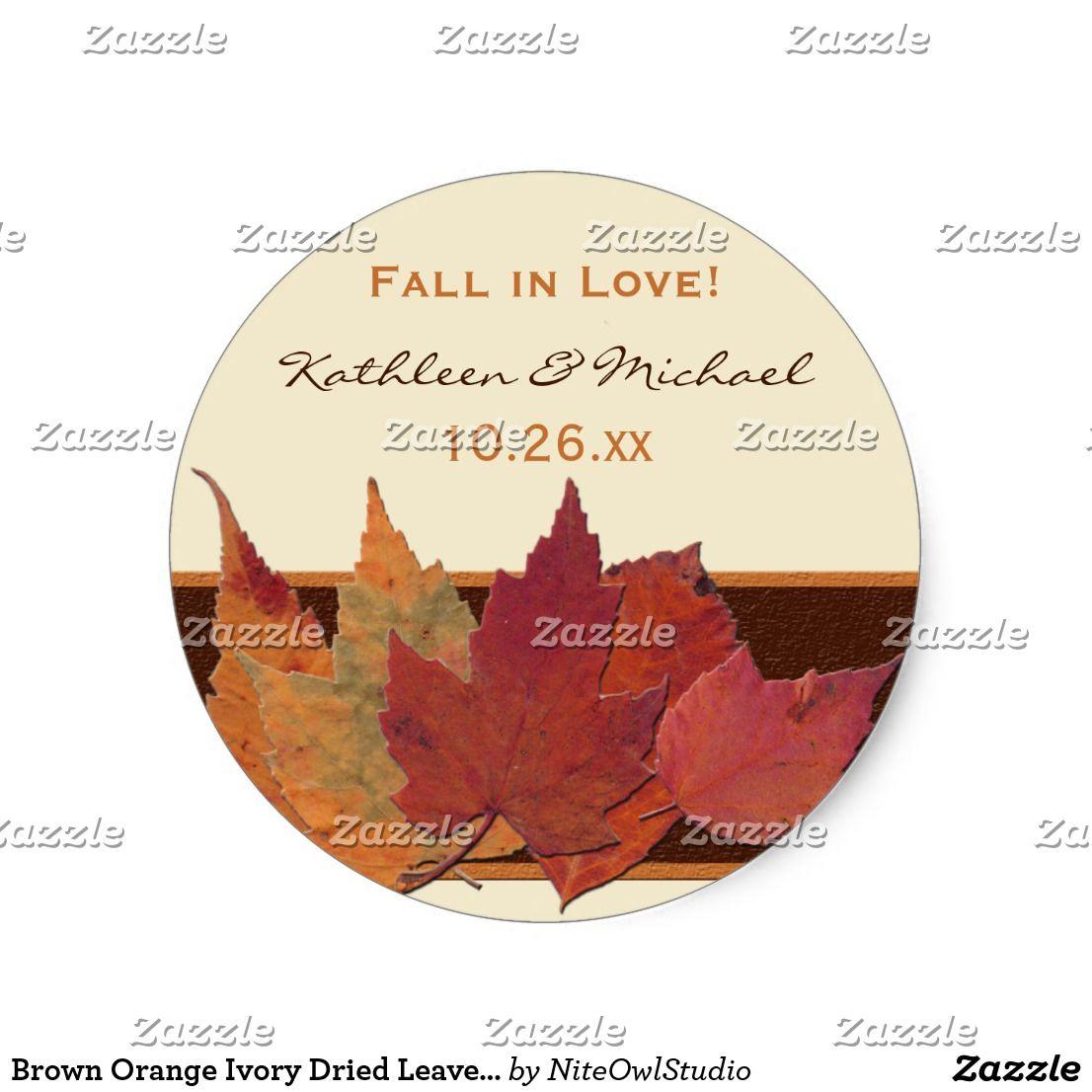 Brown Orange Ivory Dried Leaves Wedding Sticker | Pinterest ...