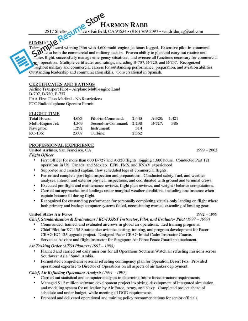 resume for airlines airline pilot cover letter company - Airline Pilot Resume