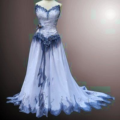 Hand-painted, Corpse Bride inspired, gothic wedding gown (Available ...