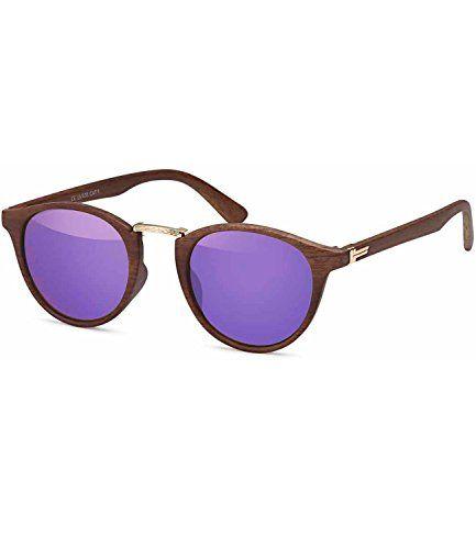a7aadec29d8de1 Caripe Retro Sonnenbrille Holz Optik Runde Gläser Vintage Panto Damen  Herren verspiegelt Getönt - Kunststoff-