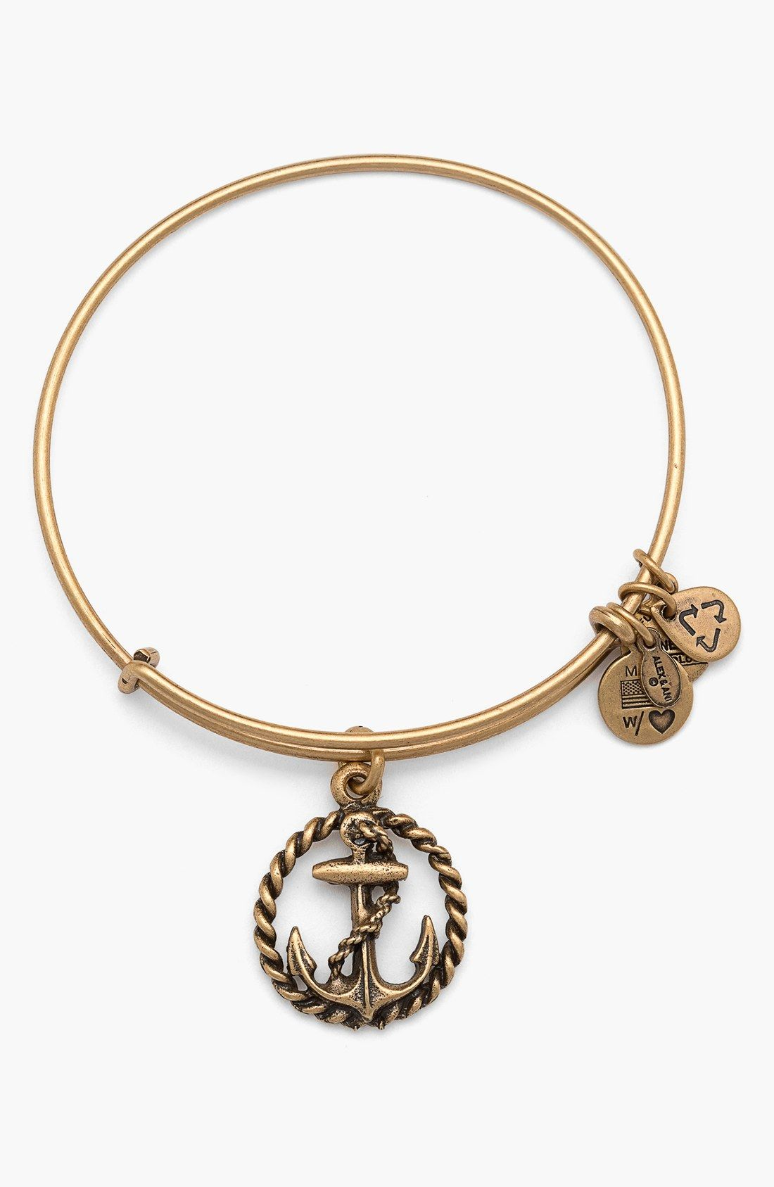 A Nautical Charm Adorns This Dainty Adjule Bracelet From Alex And Ani Wear For Courage Safety Peace Of Mind