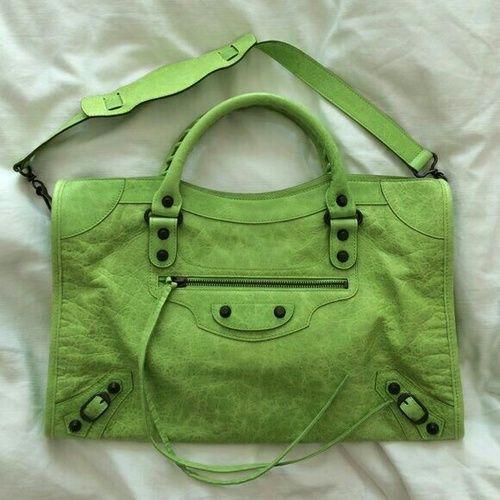lime green Balenciaga Motorcycle bag