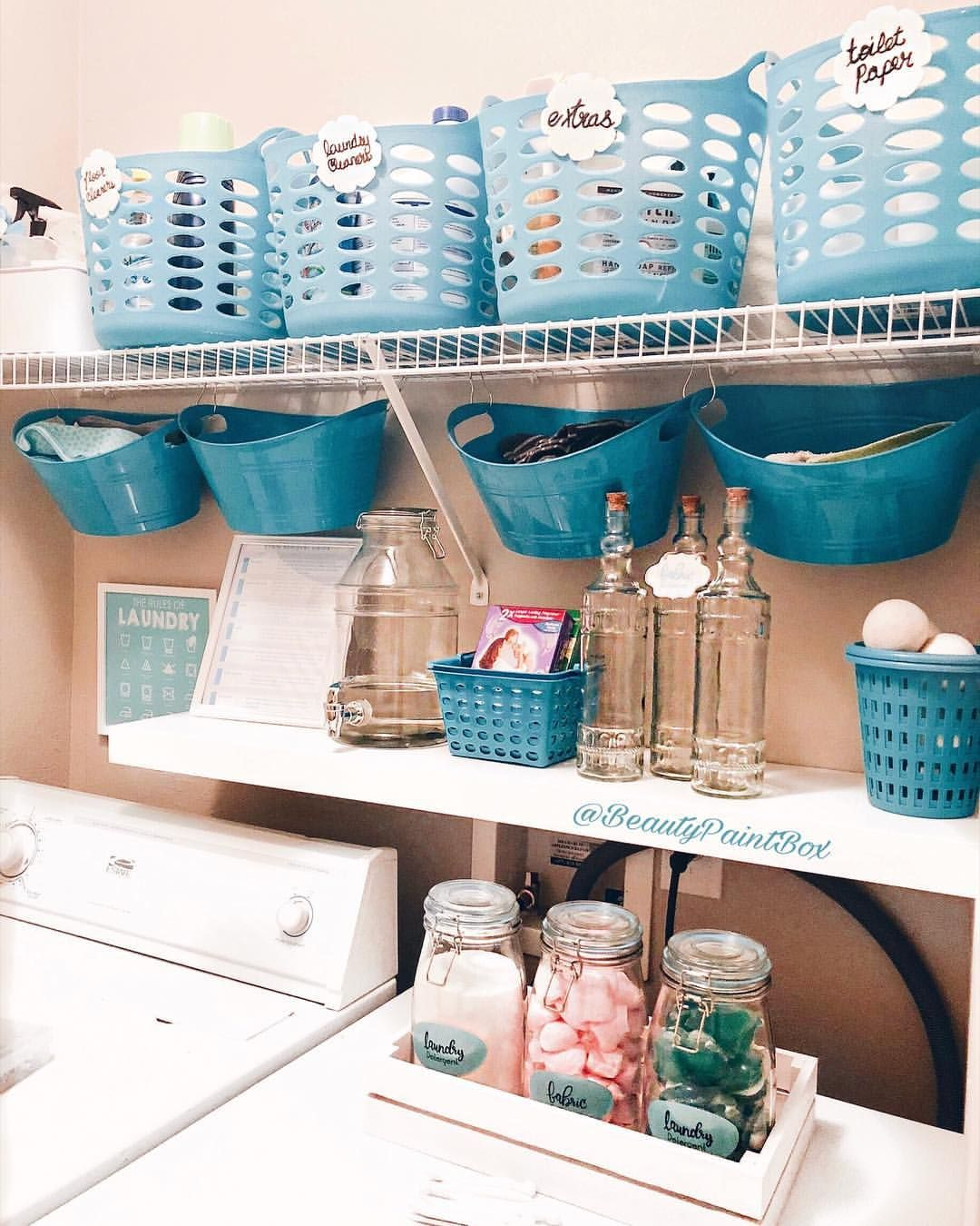 A Temporary Organization Hack For My Laundry Room Using Dollartree Storage When You Are R Laundry Room Diy Dollar Tree Organization Laundry Room Organization
