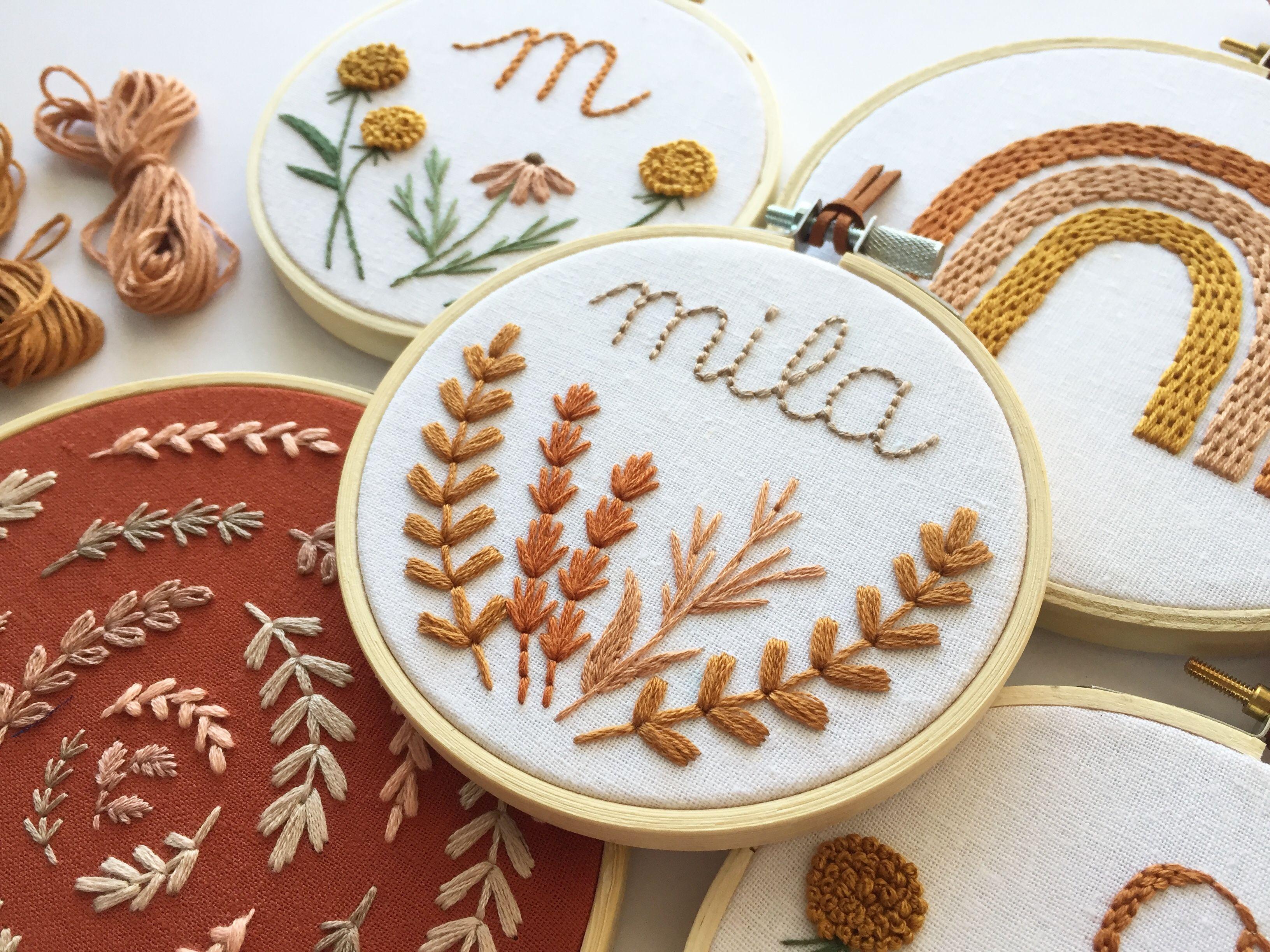 Boho nursery decor personalized cross stitch