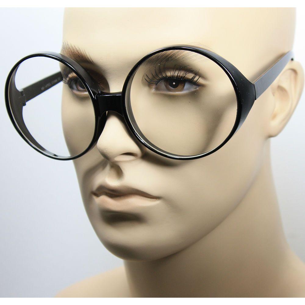 Women Vintage Oval Huge Round Frame Clear Lens Fashion Oversized Big ...