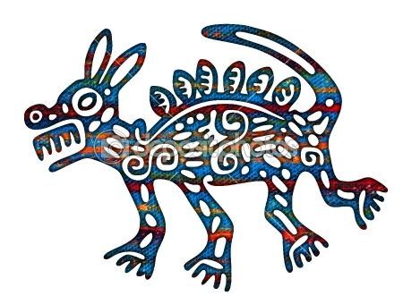 Mexican Aztec Coyote Illustration by LeshaBur - Stock Photo
