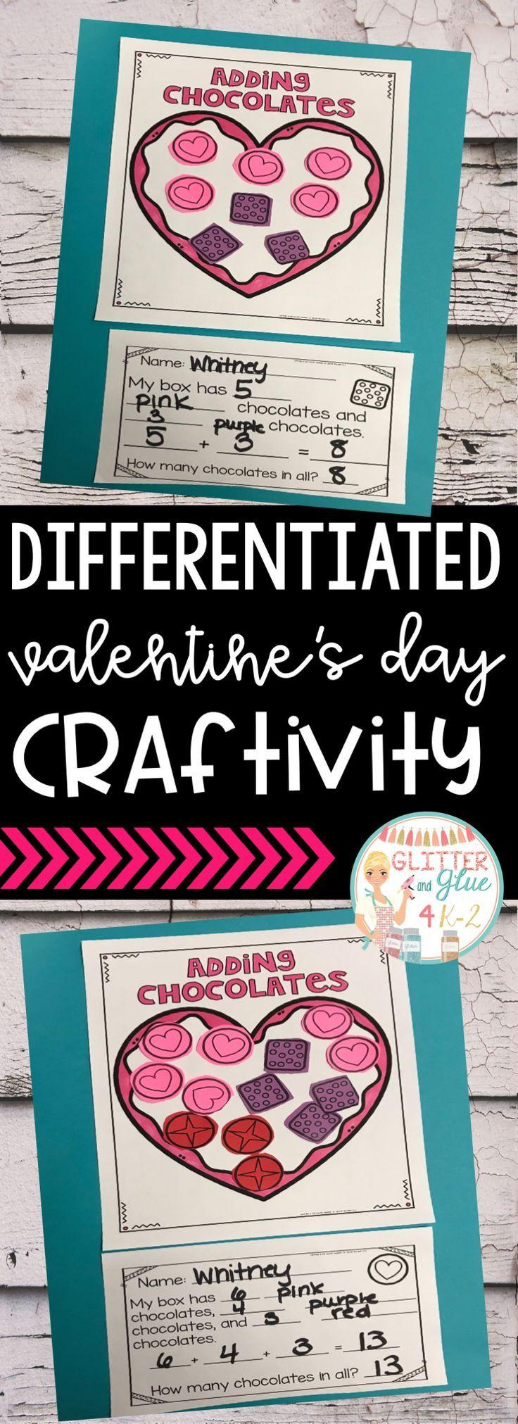 Valentines Day Math CraftDifferentiated  Math crafts Math