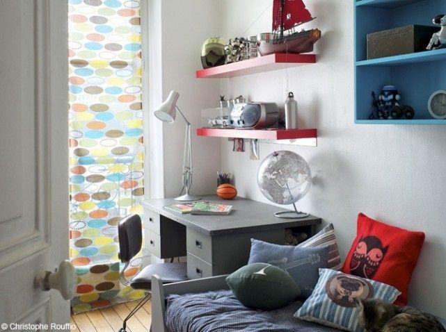 chambre garcon rouge bleu et gris