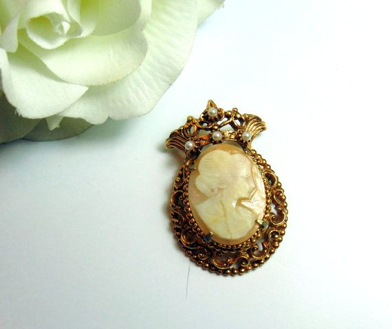 Vintage 1950's Florenza Ornate Cameo & Pearl by BuccaneerTrading, $30.00