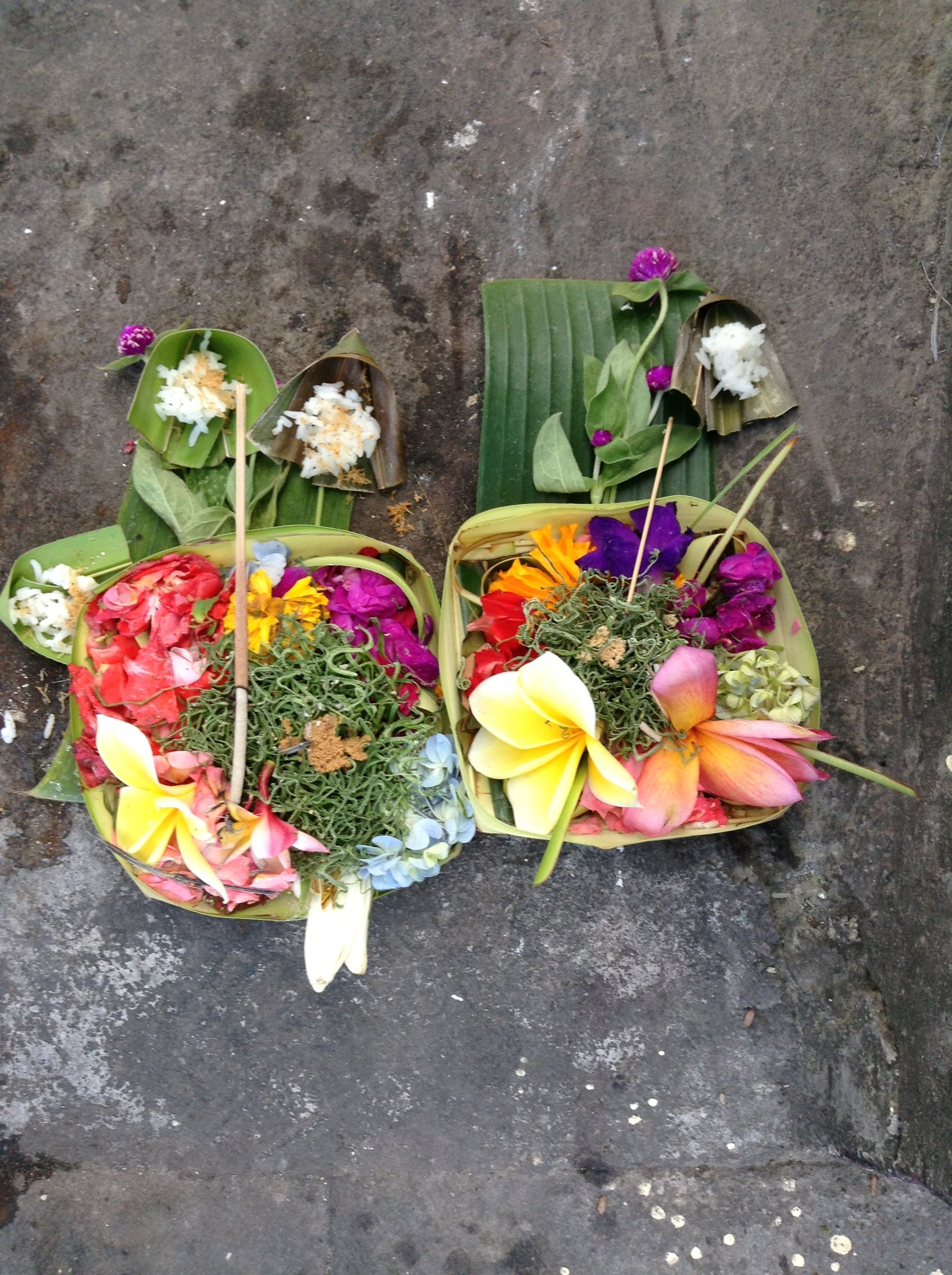 These Balinese offerings are throughout all the streets in Bali, Indonesia.