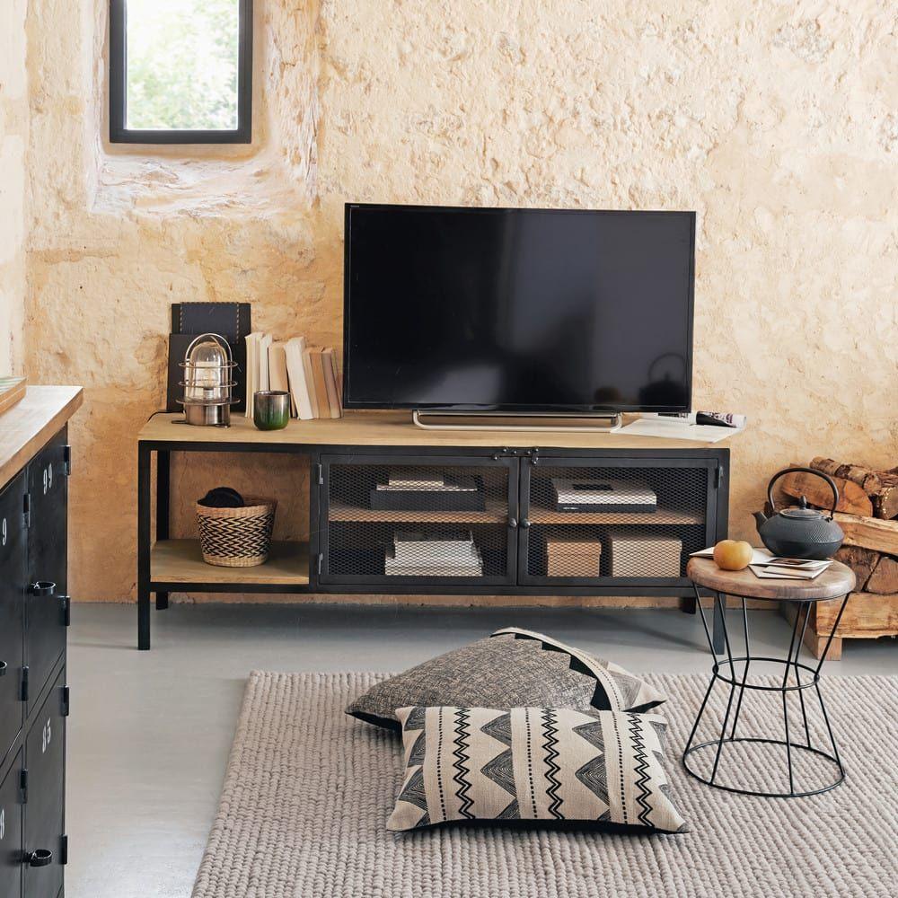 Solid Mango Wood And Black Metal Industrial Tv Cabinet Met