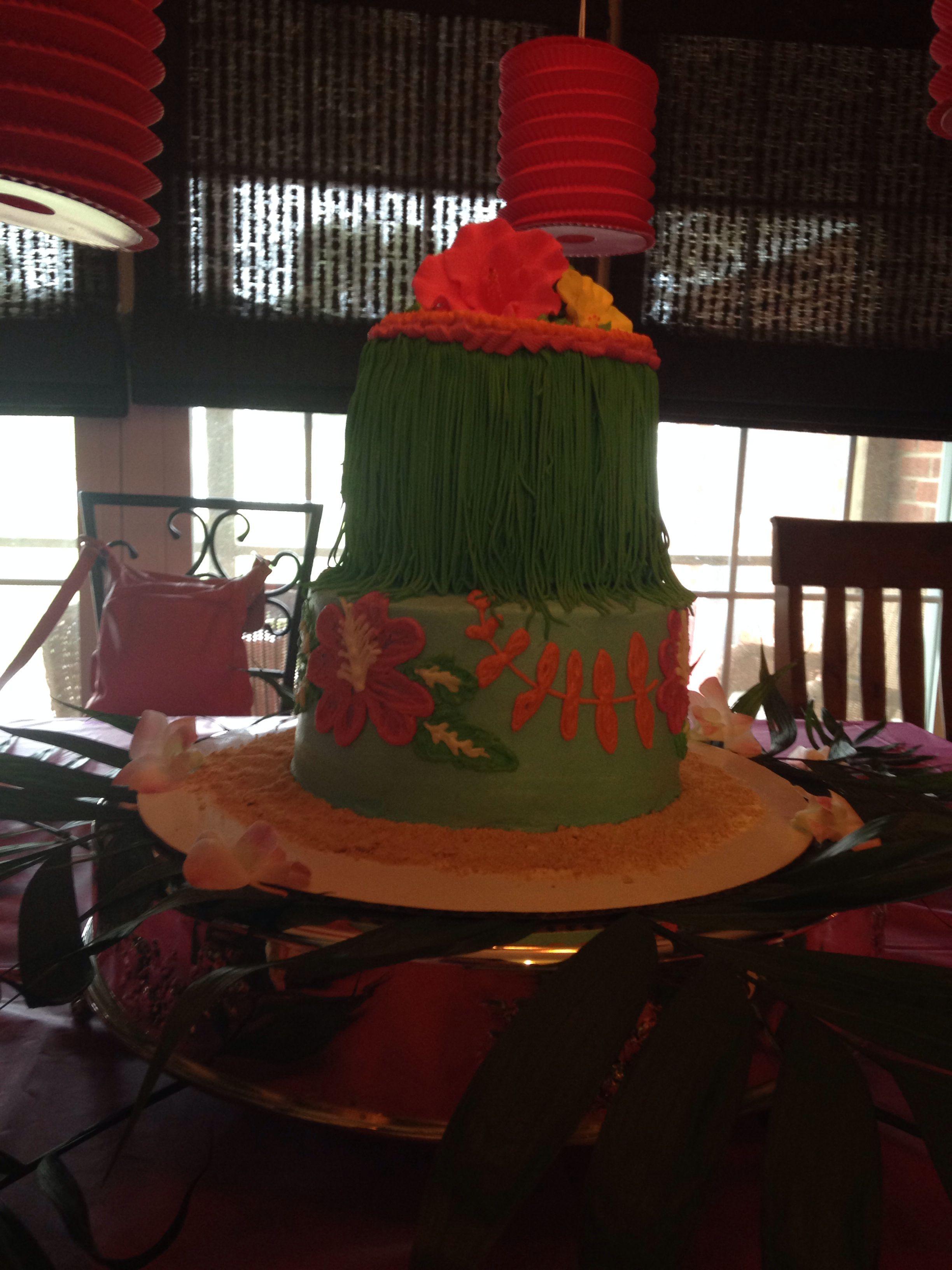 Hawaiian luau baby shower cake