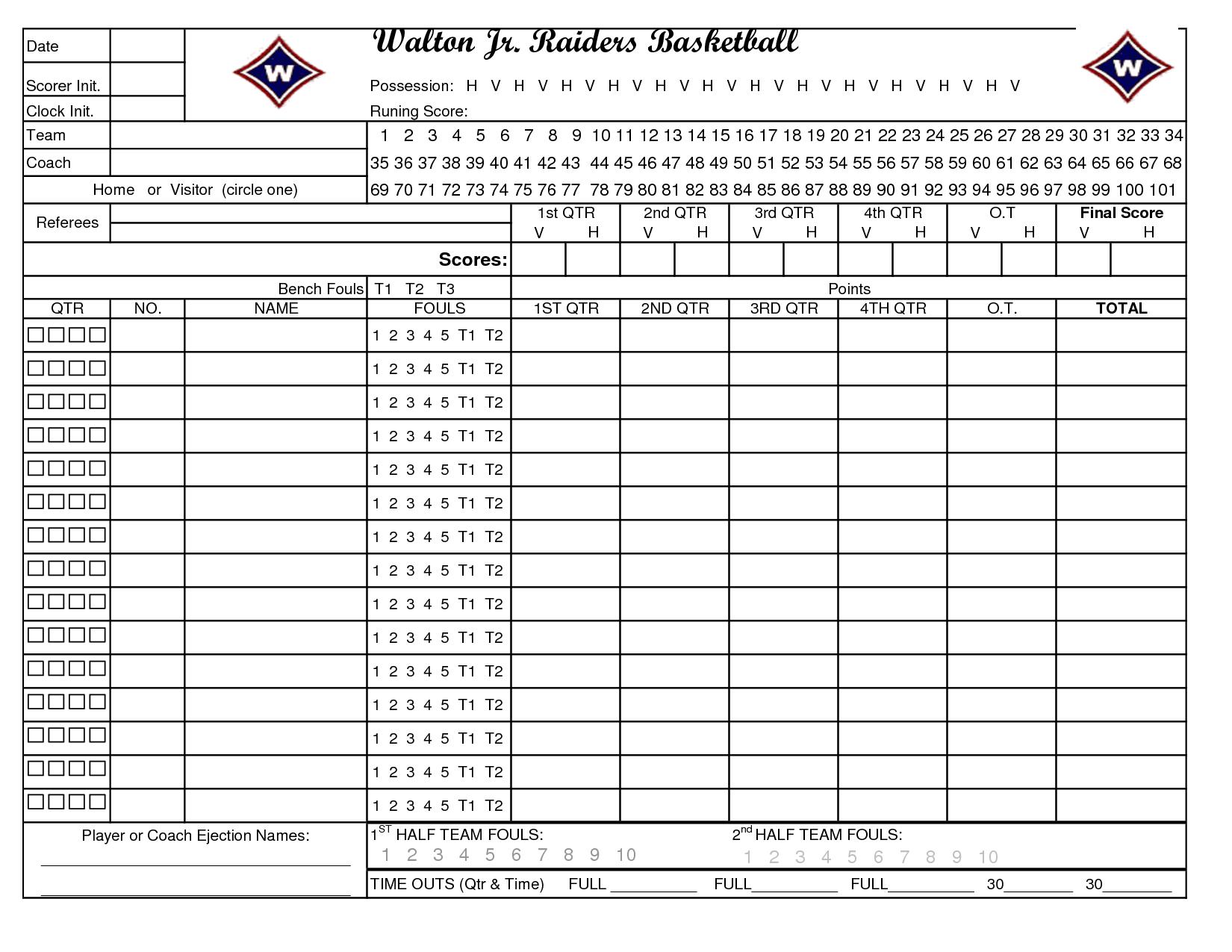 Printable Basketball Stat Sheet New Calendar Template Site