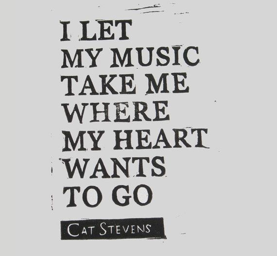 Cat Stevens lyric relief print The Wind linocut I Let My Music Take Me Where My Heart Wants to Go