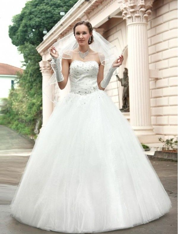 Tulle Sweetheart Neckline Ball Gown Wedding Dress With Beaded Liqued Bodice