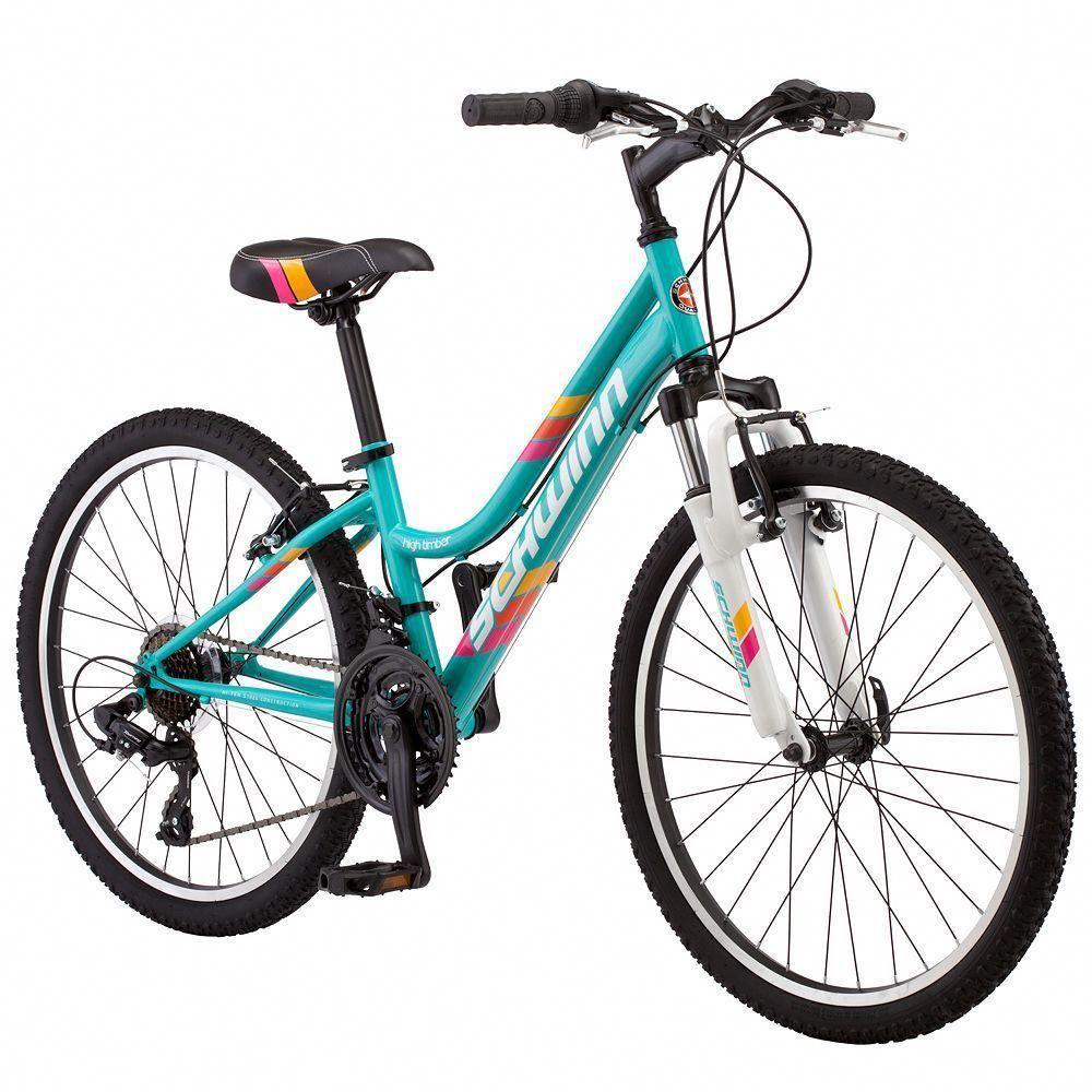 Girls Schwinn High Timber 24 Inch Mountain Bike Blue