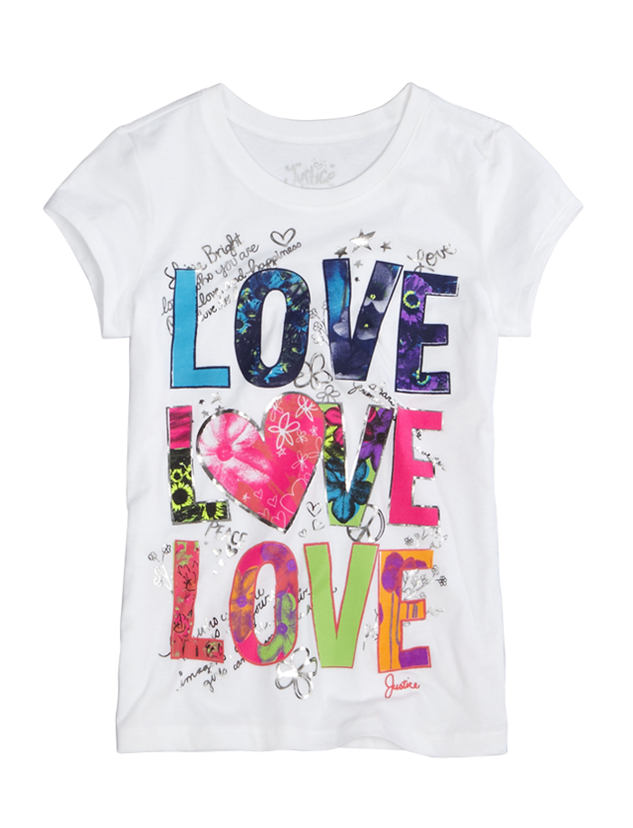 love love love graphic tee from justice kids justice