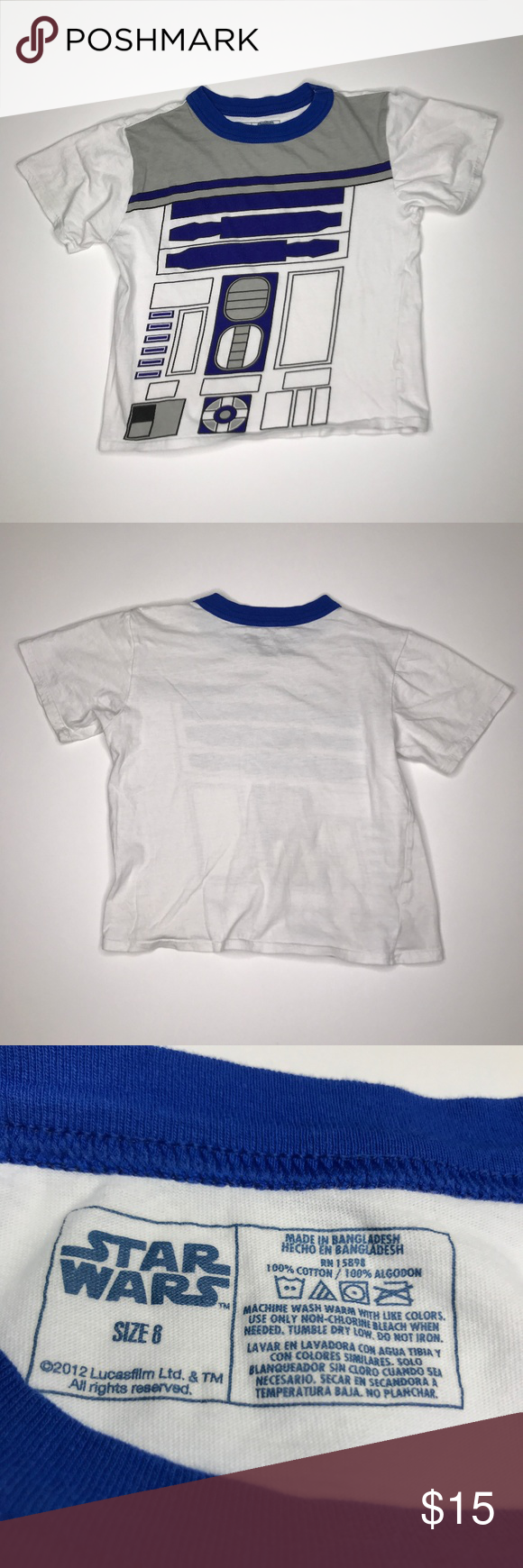 blue and white graphic tee womens