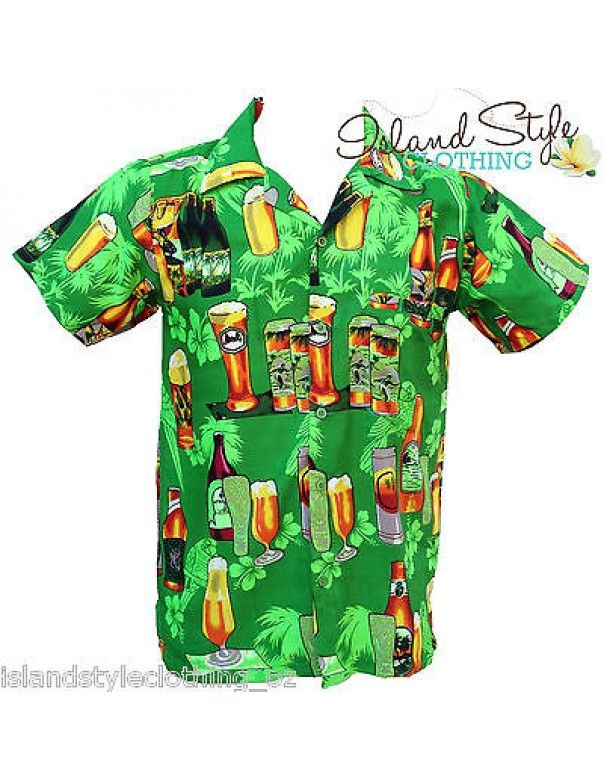 Mens Hawaiian Shirts Green Beer Bottle Stag Party Loud Shirt