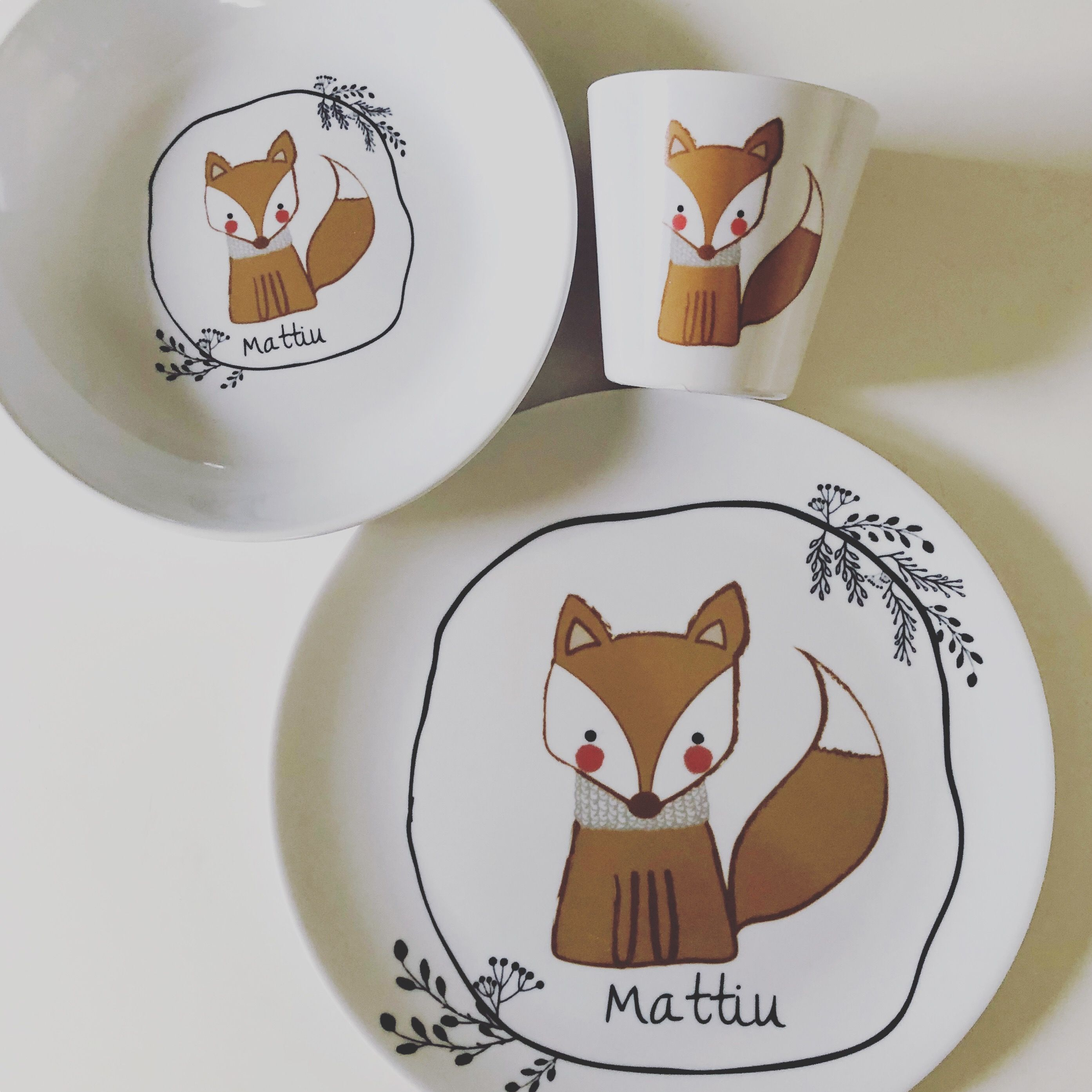 Kindergeschirr Melamin Mit Namen Fuchs Kinder Geschirr Geschenke Personalisierte Kindergeschenke