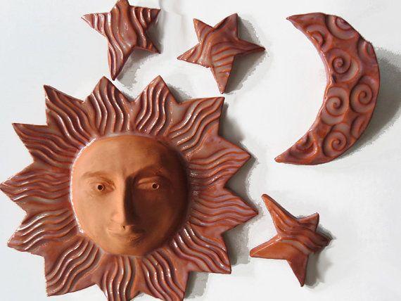 Ceramic Sculpture ~Wall Sculpture ~Sun Moon and Stars ~Terracotta ...