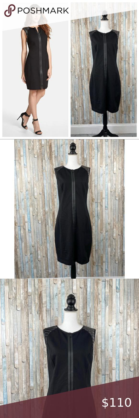 Elie Tahari 14 Black Leather Zip Lexington Dress Mixed Media Dress Elie Tahari Dresses [ 1740 x 580 Pixel ]