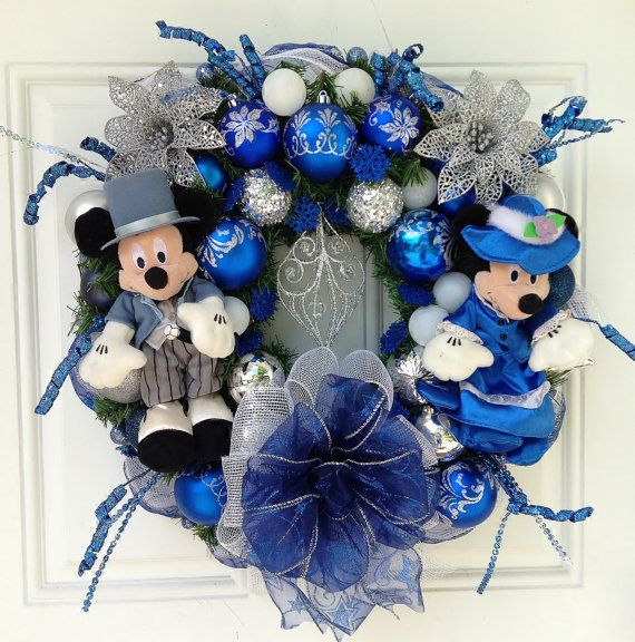 Victorian Blue Christmas Wreath with Mickey and Minnie | Shops ...