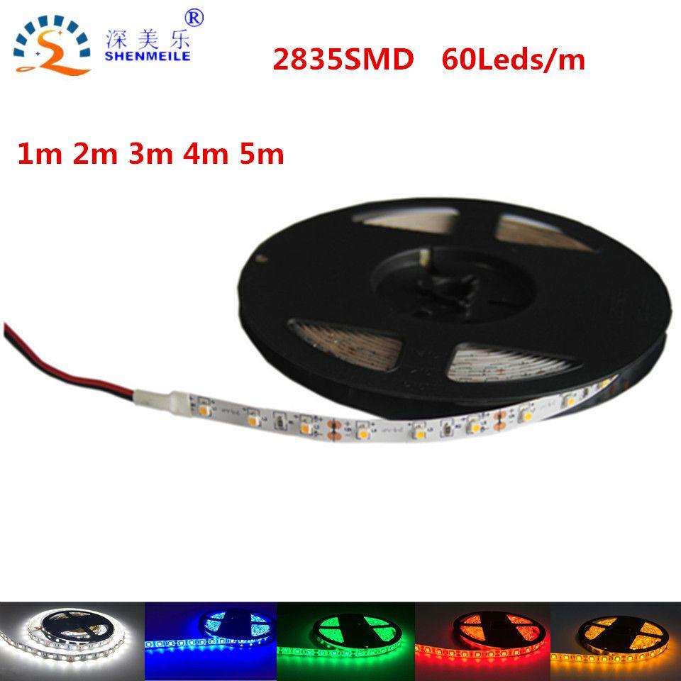 50 센치메터 1 메터 2 메터 5 메터 SMD2835 울트라 밝은 LED 스트립 빛 12 볼트 DC RGB 따뜻한 화이트 블루 레드 그린 리본 유연한 램프 전구