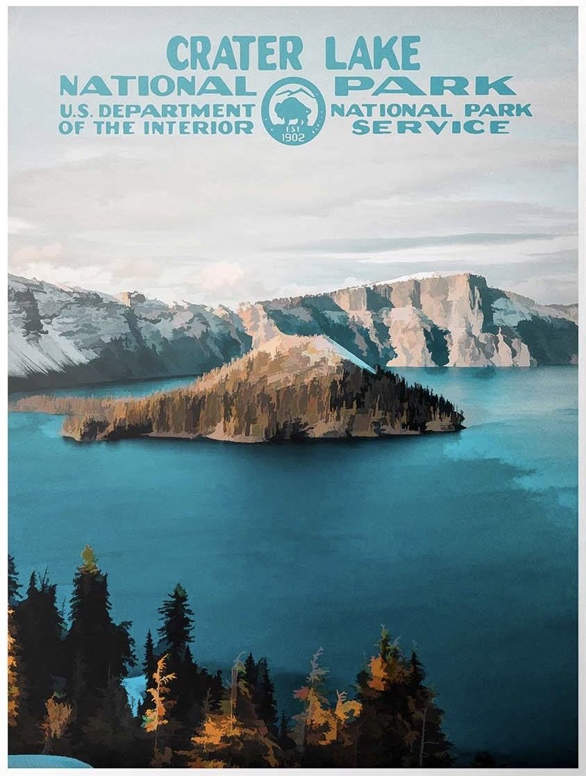 Crater Lake National Park Poster | WPA Poster | National Park Print #craterlakenationalpark