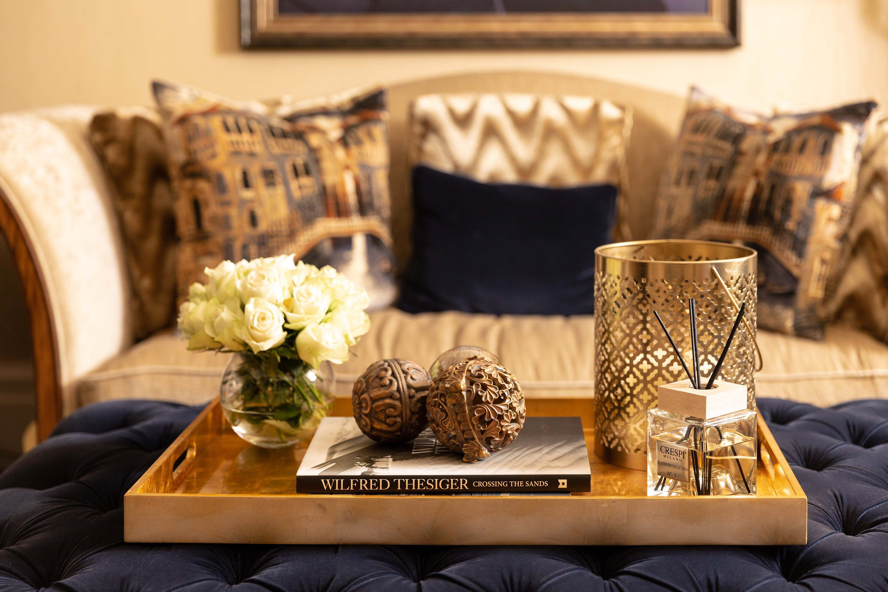 Large Gold Lacquered Finish Coffee Table Tray Decorative ...
