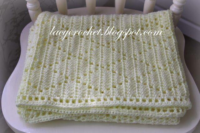 Lacy Crochet Diamond Stitch Baby Blanket Free Pattern Crochet
