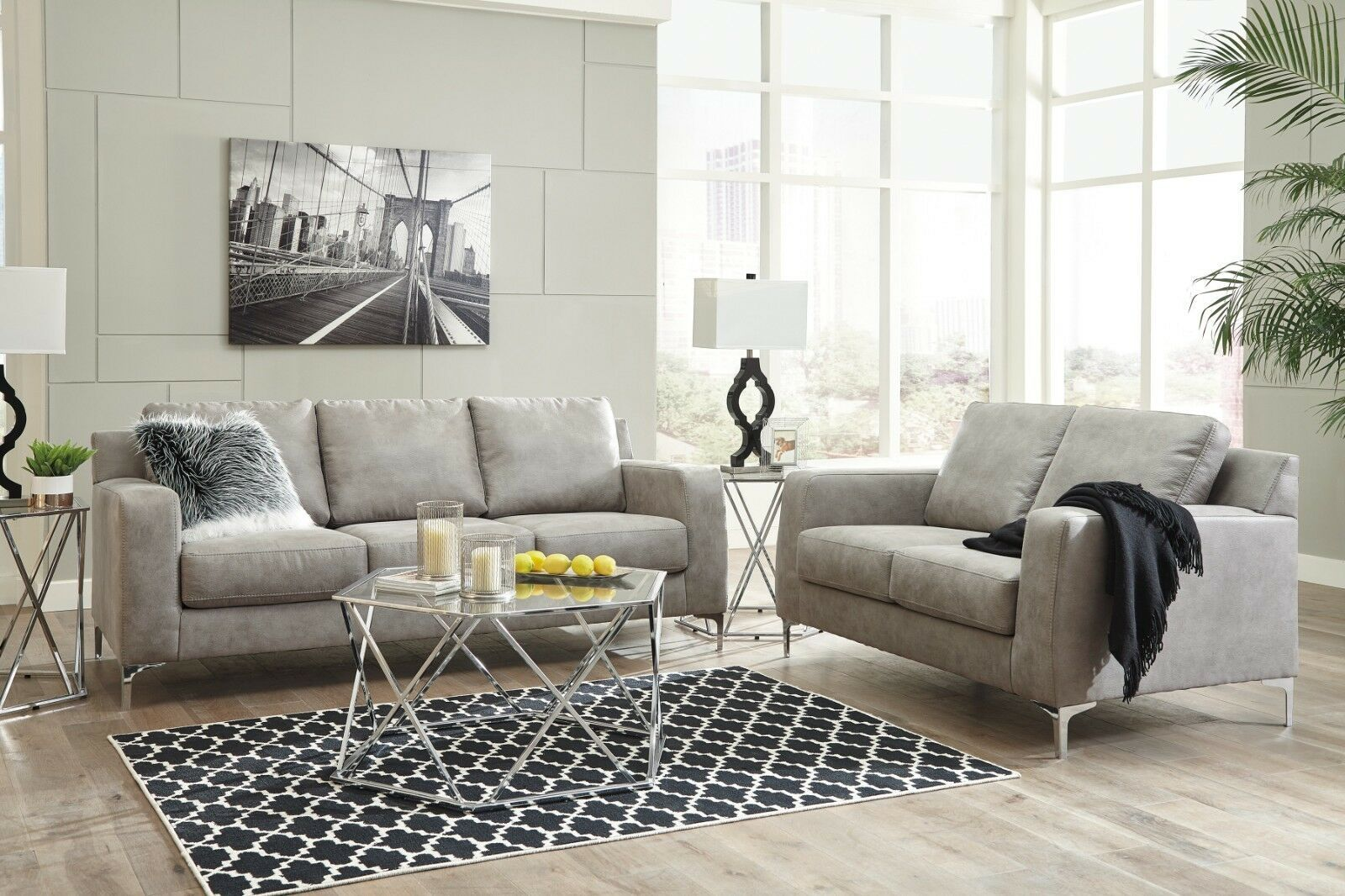 Ashley Furniture Ryler Steel Sofa And Loveseat Living Room Set