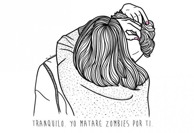 Tranquilo yo mataré zombies por ti. Ilustración © Sara Herranz.