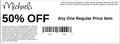 Michaels 50 Off Coupon Any One Regular Price Item good