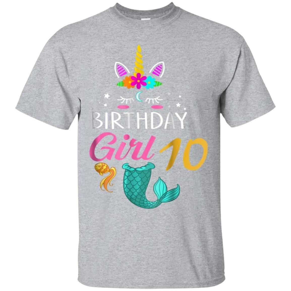 Awesome 10th Birthday Girl Unicorn Shirt Mermaid Tail 10