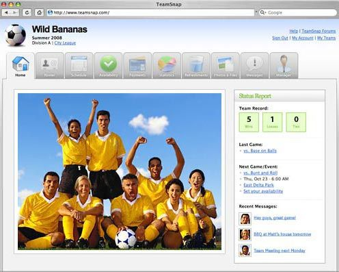 easy app to create a sports team website and have all your team