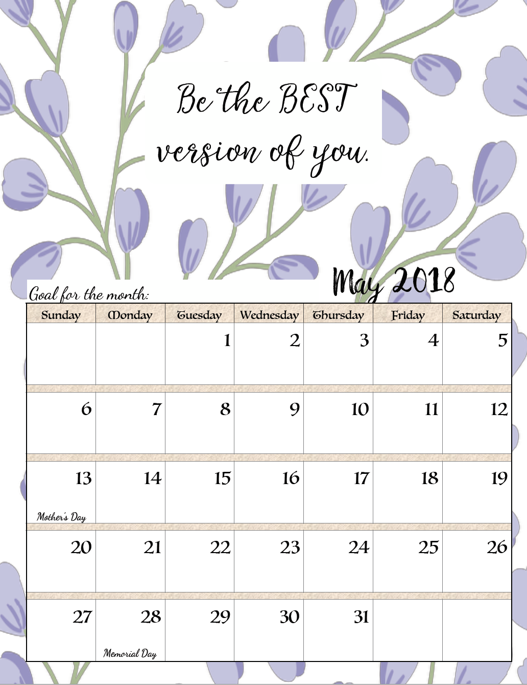 Calendar Organization Quotes : May calendar with inspirational quotes